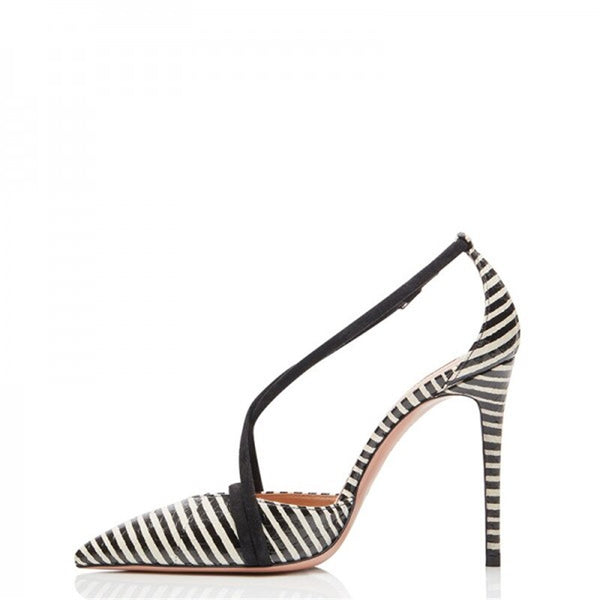 Black White Stripe High Heels