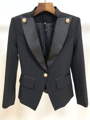 Top Quality Classic One Button Gold Buckle Satin Collar Jacket Blazer