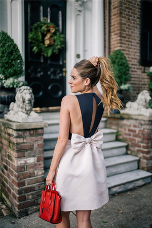 Hollow Out Strapless Bow Dress