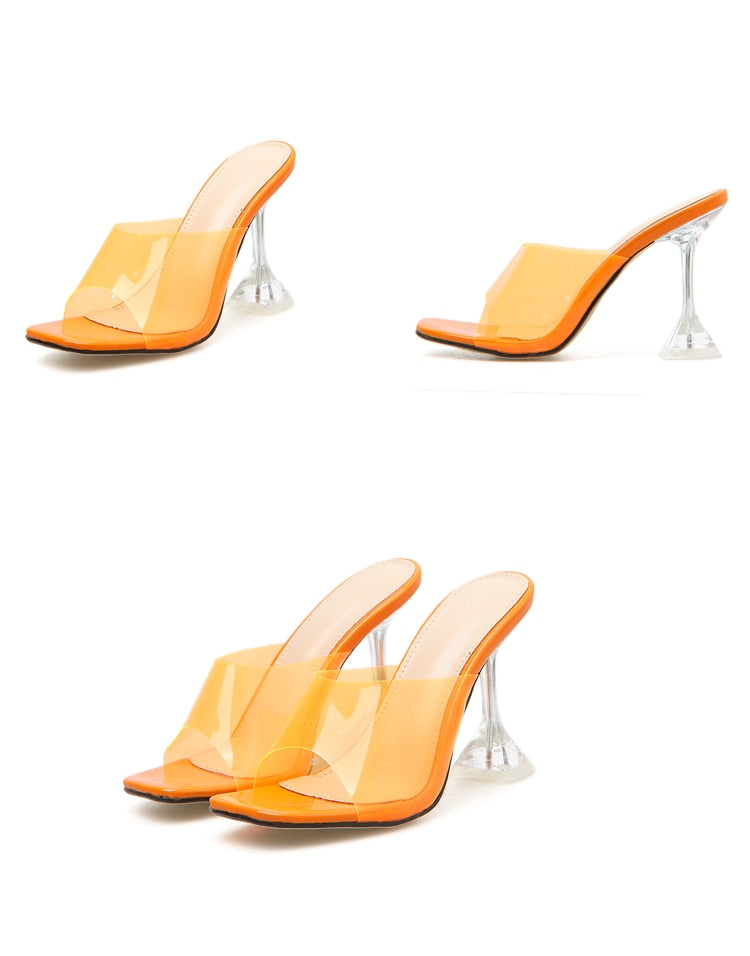 Orange Silver Jelly Slippers Open Toe