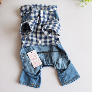 Pet Jeans Jumpsuit Denim Overalls