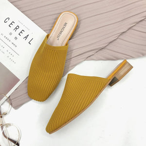 Square Toe Stretch Slippers