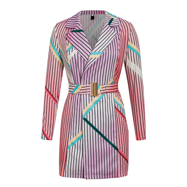 Rainbow Winter Dress With Belt