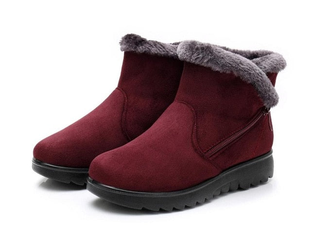 Warm Fur Suede Wedge Ankle Boot