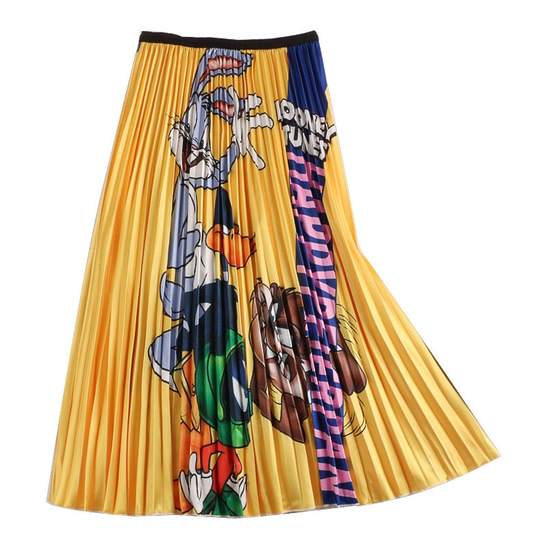 Quality Cartoon Print Pleated Long Skirt
