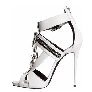 Metal Buckle Zipper High Heels