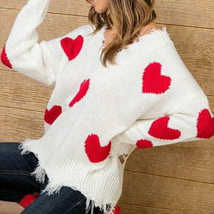 Ripped Knitted Oversized Heart Sweater