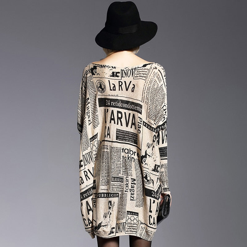 Soft Plus Size Newspaper Canvas Sweater