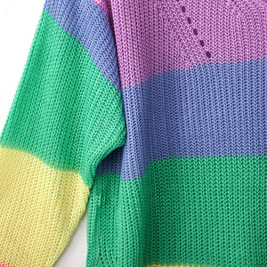 Patchwork Knitted Sweater Loose