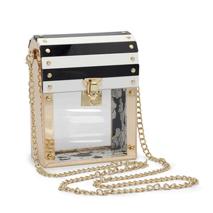 Metal frame chain transparent handbags