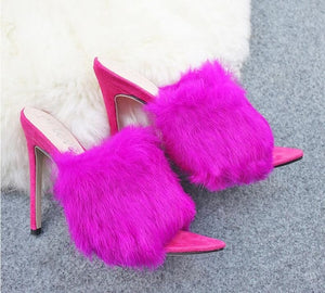 Yellow Furry Mules