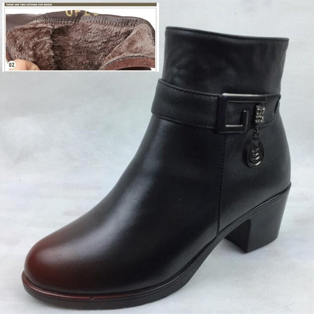 Genuine Leather Thick Wool Lined Boots