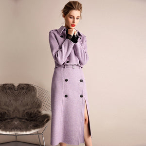 Purple Wool Cashmere Trench Coat