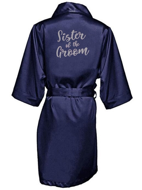 Navy Blue Silver Letter Bridal Party (Bride, Sister, Mother of the Bride Robes)