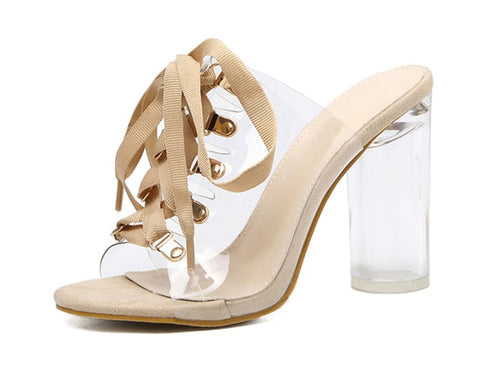 Peep Toe Lace-Up Clear Chunky Heels