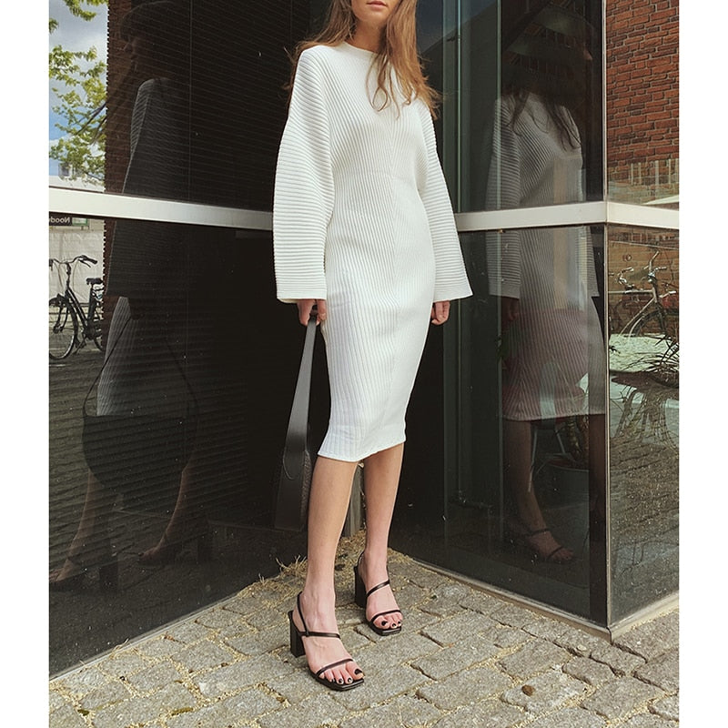 High Quality White Midi Knitted loose Sweater Dress