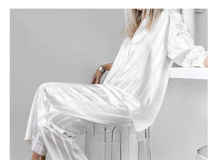 Drop Shoulder Loose Blouse + Casual Pant Two Piece Set
