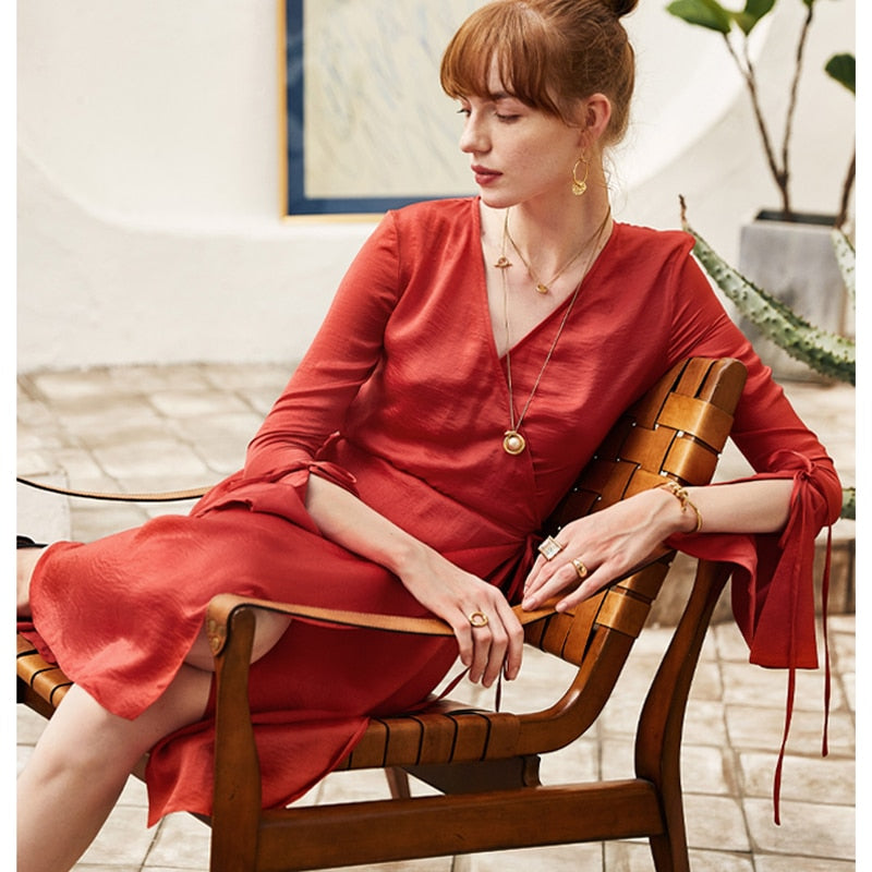 Red Column Dress Casual Shift Dresses