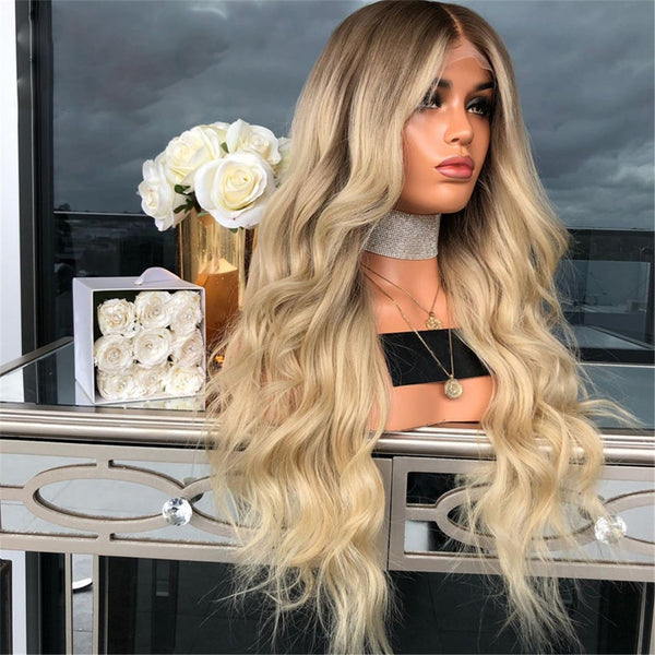 Ombre Blonde Full Lace Wigs  Body Wave Brazilian Remy with Baby Hair