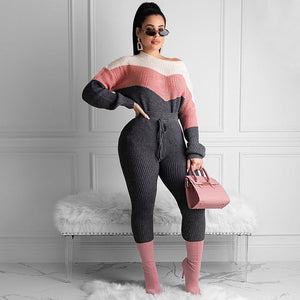 Two Piece Knitted Rib Tracksuit