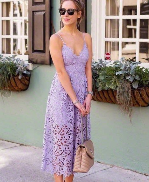 Sleeveless Halter Strap Summer Lace  Dress
