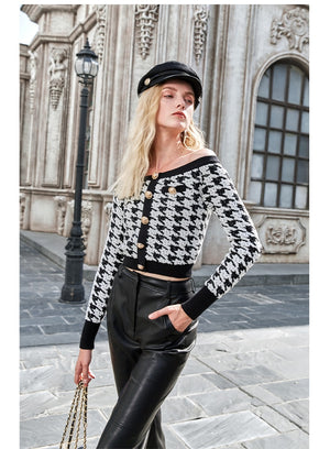 Houndstooth Boat Neck Knitted Sweater