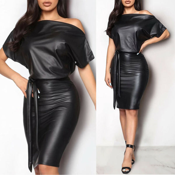 Wet Look Leather Black Dress