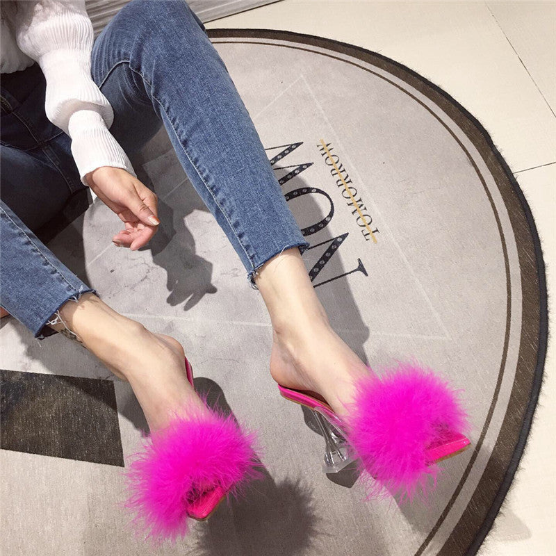New Design Fluffy Pointed Jelly Shoes