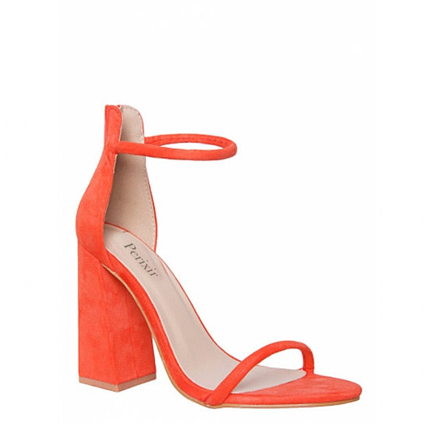 Orange Buckle Strap High Heels