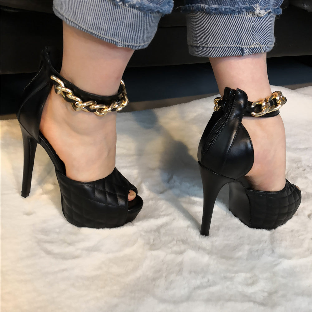 Thin High Heeled Chain Shoes
