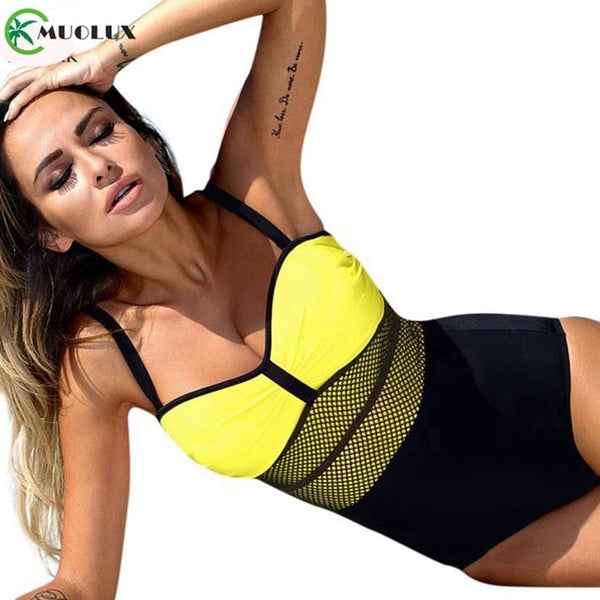 One Piece Push Up Mesh Bathing Suit