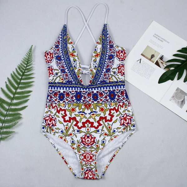 One Piece Leaf Print Swimsuit