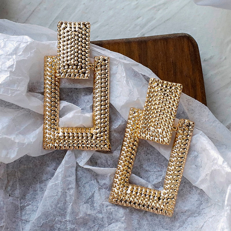 Geometric Gold Rectangle Earring