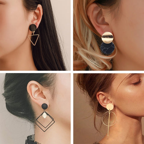 Drop Geometric Gold Asymmetric Earrings