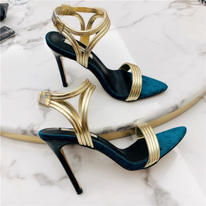 Leather Blue & Gold Velvet Heels