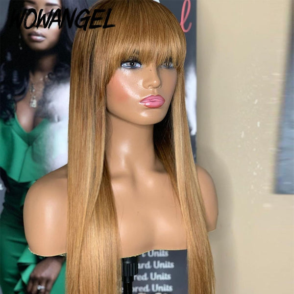 Blond Colored Pre plucked Remy Brazilian Straight 360 Lace Human Hair Wig With Bangs 180% Density