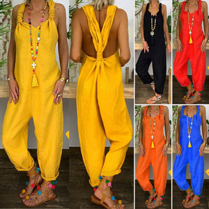 Cotton Linen Loose Overall Jumpsuits