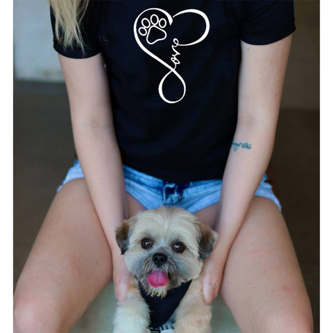 Cute Dog Paw Love Graphic T shirt