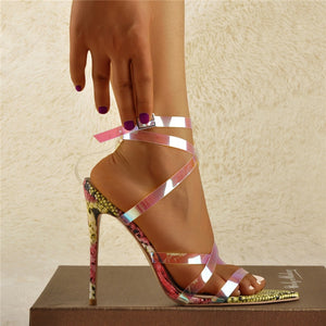 Iridescent Criss Cross Snake Sandals