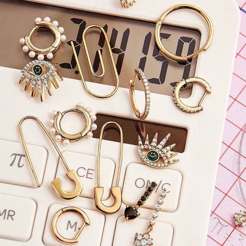Stud Safety Pin Earrings