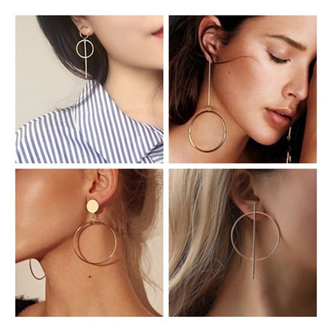 Long Circle Pendant Tassel Earrings