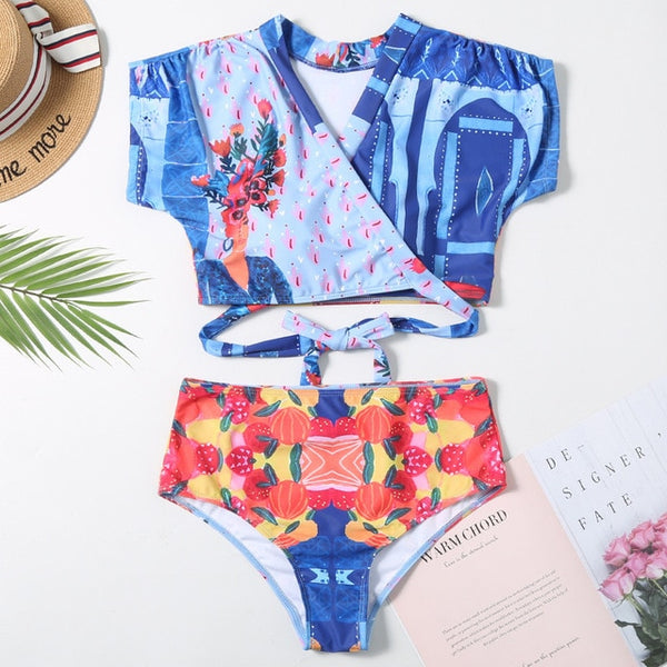 Swim Wear High Waist V-neck Swim Bikinis