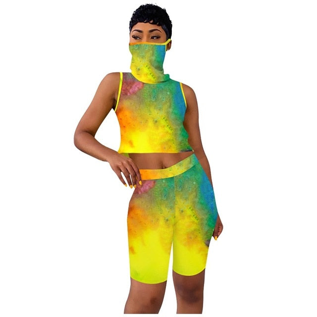 3 Piece Set Tracksuit Tie Dye with Mask