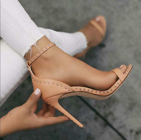 Rivet Ankle Strap Sandals