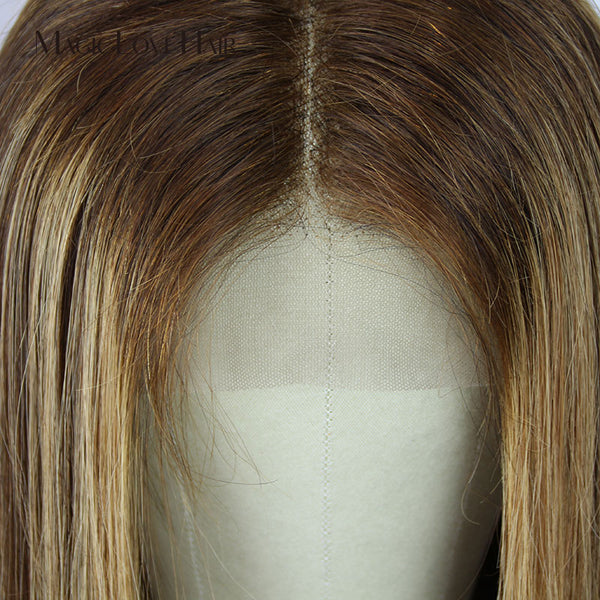 Ombre Brown Honey Blonde Wigs Straight Lace Front Brazilian