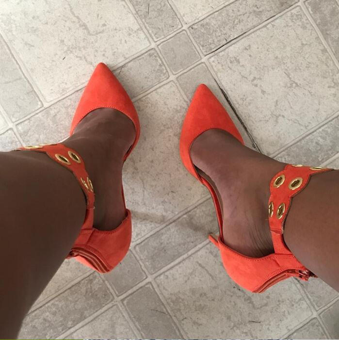 Orange Leather Cuts Out Ankle Pumps