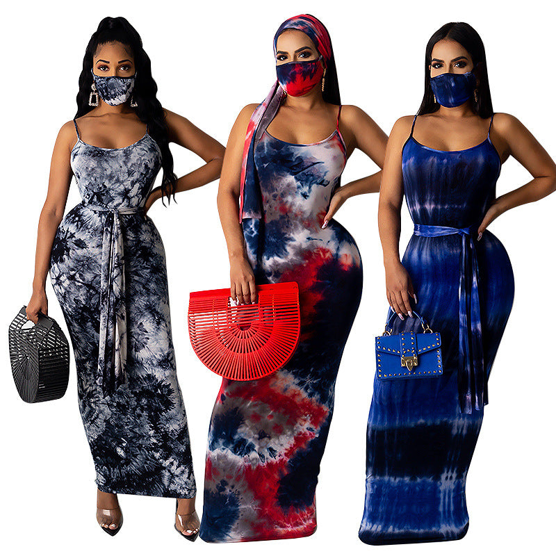 Tie Dye Beach Dress With Mask