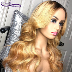 Blonde Ombre #27 Color deep part Frontal Lace Wig Remy Hair Brazilian