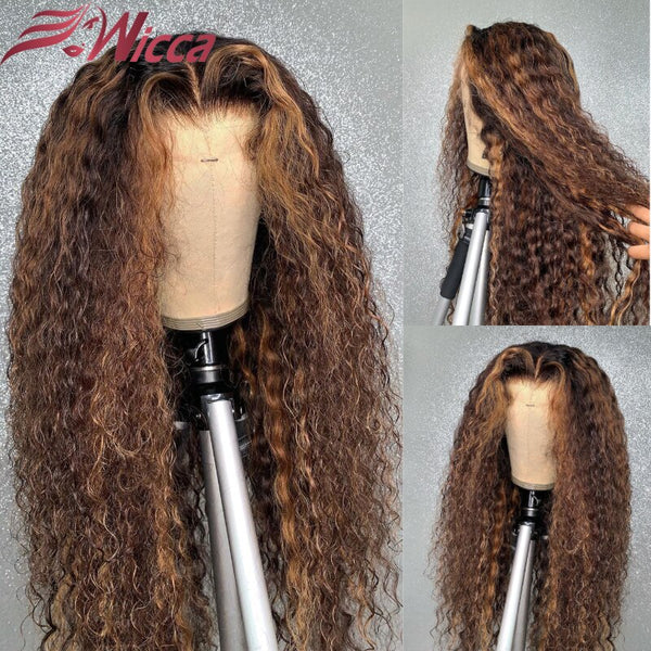 Ombre Color 180 Density 360 Lace Front Remy Pre Plucked Brazilian Human Hair Wigs With Baby Hair