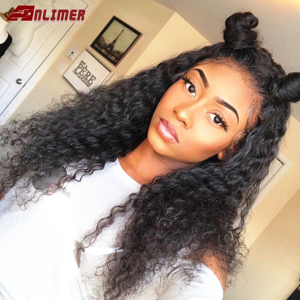 Indian Kinky 180% Density Curly 360 Deep Part 13*6 Lace Front Human Hair Wigs